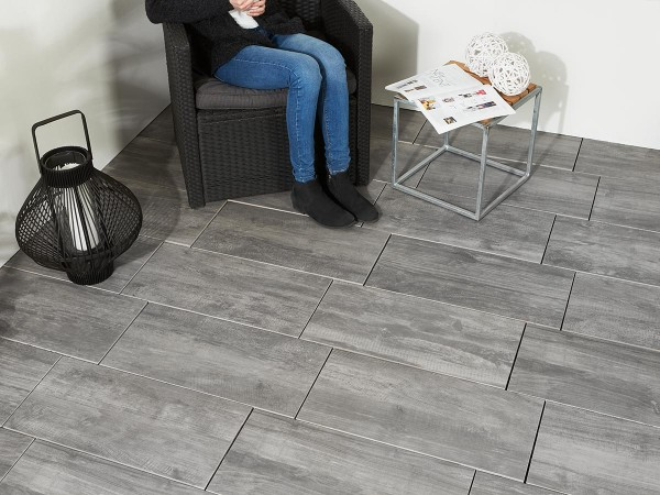 Keramik Verbundplatten Drain in Wood Grey